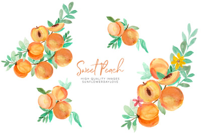 Summer peaches clipart, Greenery peaches, peach fruit, clip art DIY,