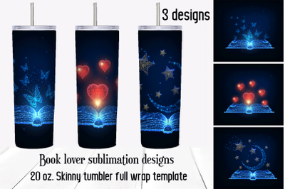 Book lover tumbler sublimation designs. Skinny tumbler png.