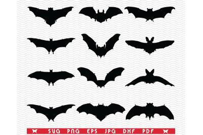 SVG Bats, Black silhouette, Digital clipart