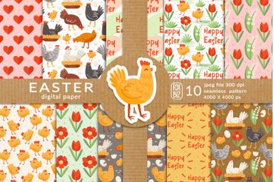 Easter digital paper, seamless pattern. Happy Easter.