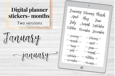 Months Planner clip arts, Scripts names of months sickers