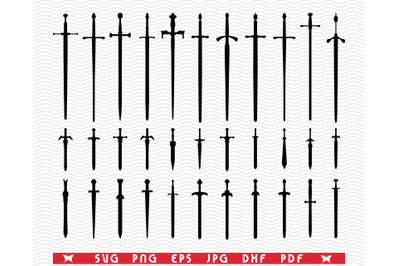SVG, Swords, Knifes, Black silhouettes , Digital clipart