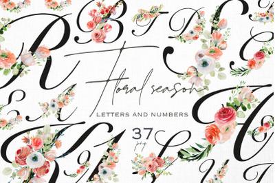 Floral season. Spring alphabet.
