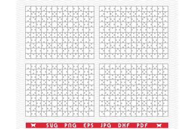 SVG White Puzzles, Separate Pieces digital clipart