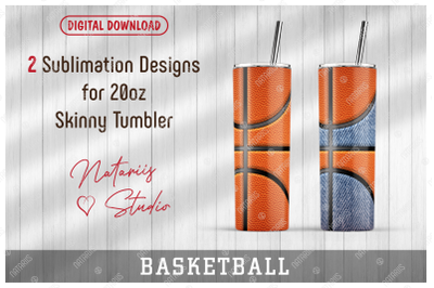2 Basketball / Denim Patterns for 20oz SKINNY TUMBLER.
