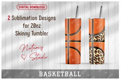 2 Basketball / Leopard print Patterns for 20oz SKINNY TUMBLER