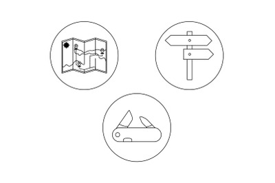 camping Directions Outline Bundle