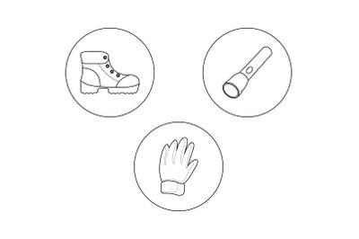 camping gloves  Outline Bundle