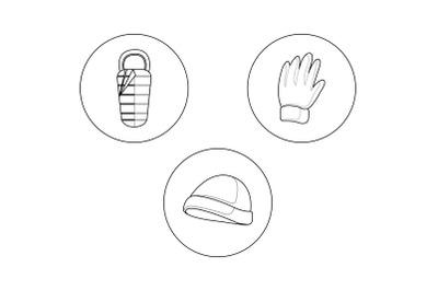 camping hat Outline Bundle