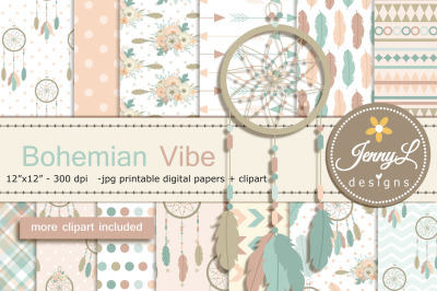 Bohemian Digital Papers and Clipart