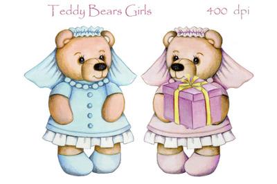 Teddy Bears Girls. Watercolor art.