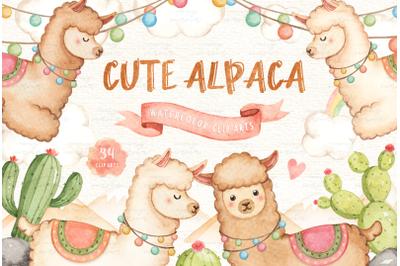 Cute Alpaca Lama Watercolor Clip Art