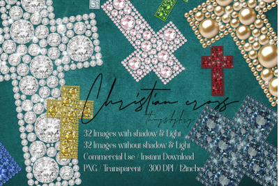 32 Diamond Pearl Rhinestone Christian cross religious Easter