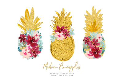 Marsala Pineapple Clip art, Tropical Print Clip art, Hibiscus floral