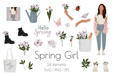 Spring Girl and Flowers Set