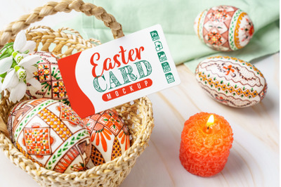 Easter Eggs Basket with Card Mockup