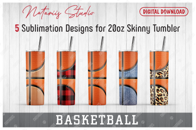5 Realistic Basketball Patterns for 20oz SKINNY TUMBLER.