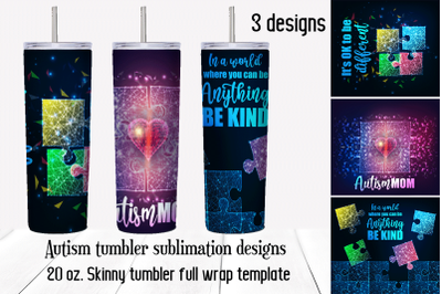 Autism awareness tumbler sublimation designs.