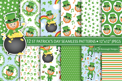 St Patricks Day Digital Papers, St Patricks Day Patterns P48