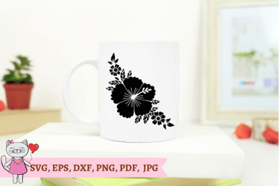 Hibiscus Svg file, Hawaiian flower Svg, Swirly Hibiscus SVG