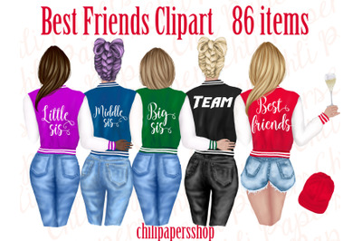 Best Friends Clipart, Collage Jackets Girls,Fashion girls
