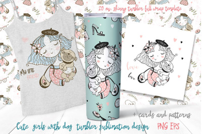 Skinny tumbler Png. Girl and pug. Dog clipart sublimation.