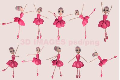 Ballet girl 3D illustrations