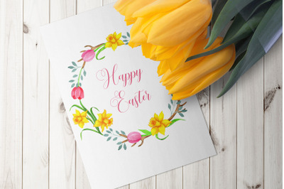 Spring  watercolor clipart, Easter tulips, daffodils wreath