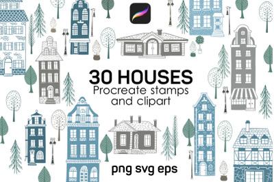 House Procreate stamp brushes, cliparts