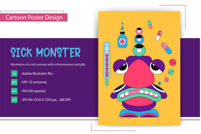 Cartoon Sick Monster