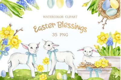 Watercolor Easter clipart, cute sheep and lamb