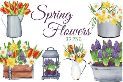 Spring Flowers watercolor clipart, Spring PNG, Farmhouse clip art, bouquets
