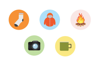 camping bonfire flat Icon Bundle