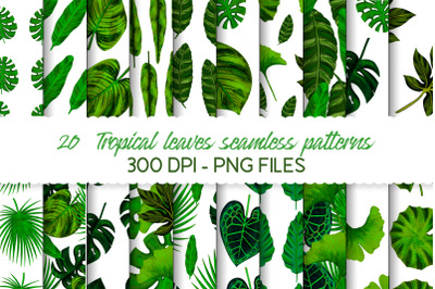 Tropical leaves seamless pattern set