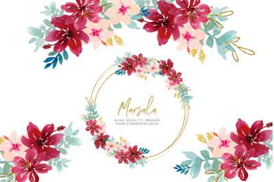 Watercolor Marsala Flowers Clipart, Watercolor Flowers clipart