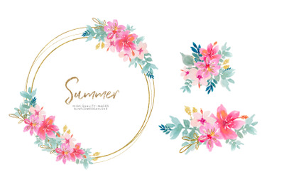 Tropical Watercolor Flower Clipart, Pink Watercolor Flowers clipart