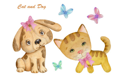 Cat and Dog. Watercolor illustrations.