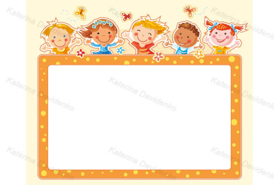 Rectangular frame with five happy kids