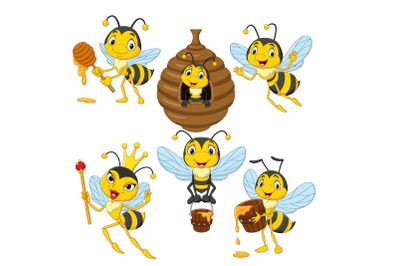 Set of Six Cartoon Bees Character