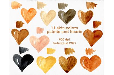 Black heart Skin color clipart. Gold texture heart. Watercolor palette