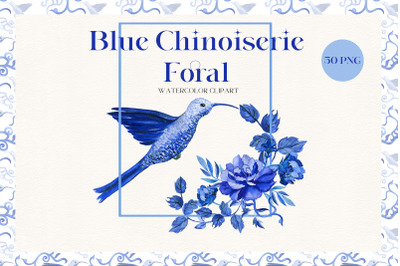 Blue Chinoiserie Floral Watercolor Clipart