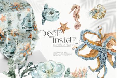 Underwater Watercolor Patterns Set