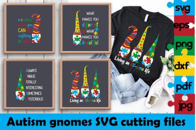 Autism gnomes SVG cutting files. Autism awareness bundle.