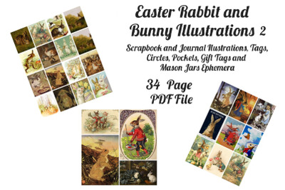 Easter Bunny and Rabbit Vintage Illustrations 2