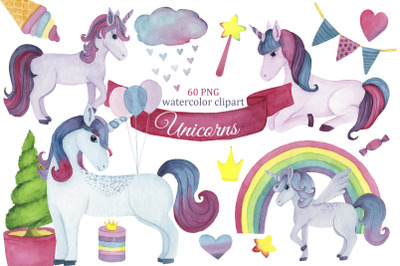 Unicorn watercolor clipart, Unicorn png, fairy clipart, magical birthd