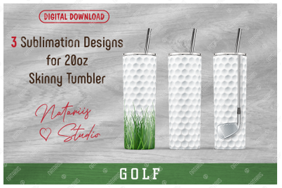 3 Realistic Golf Patterns for 20oz SKINNY TUMBLER.