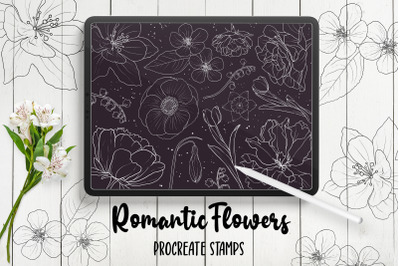 Hand Drawn Flowers Procreate Stamp Brushes
