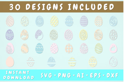 Multicolor Easter Eggs SVG Bundle - 30 Designs