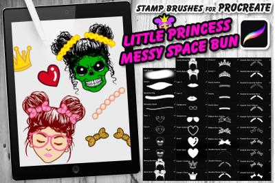 Little Princess Messy Space Bun Procreate Brush Set