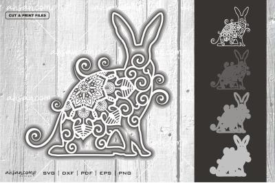 Rabbit #2 Vector SVG 3D Layered, Eps 10